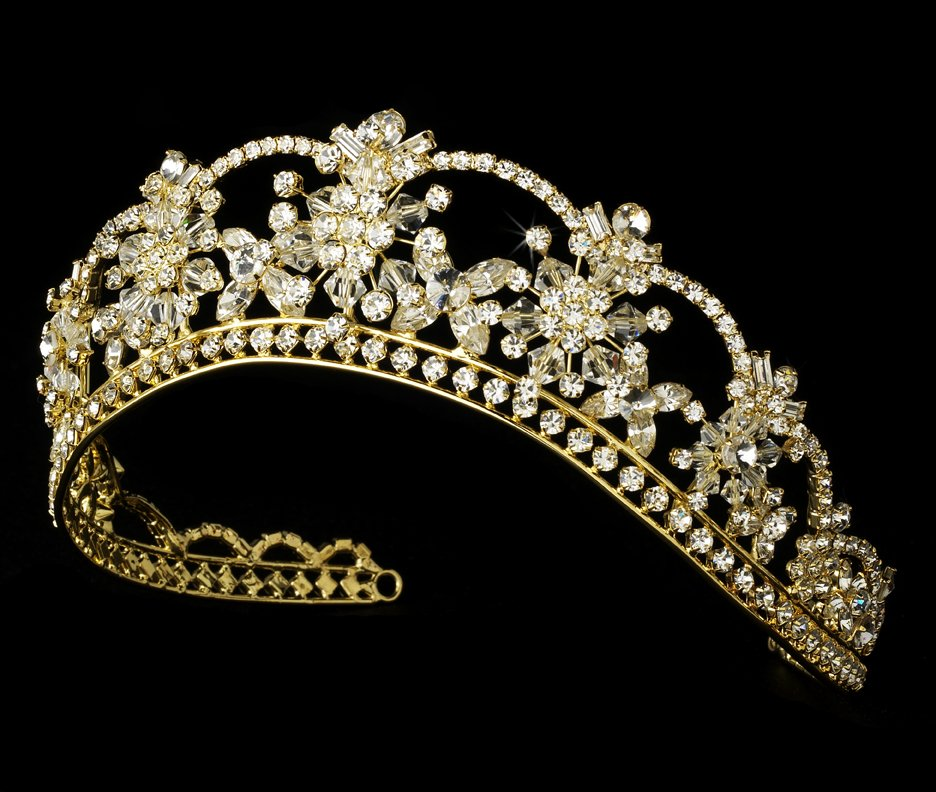 Gold Mis Quince Anos Quinceanera Tiara With Crystals And