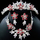 Red and Silver Tiara with Jewelry Set for Weddings, Prom, Holiday