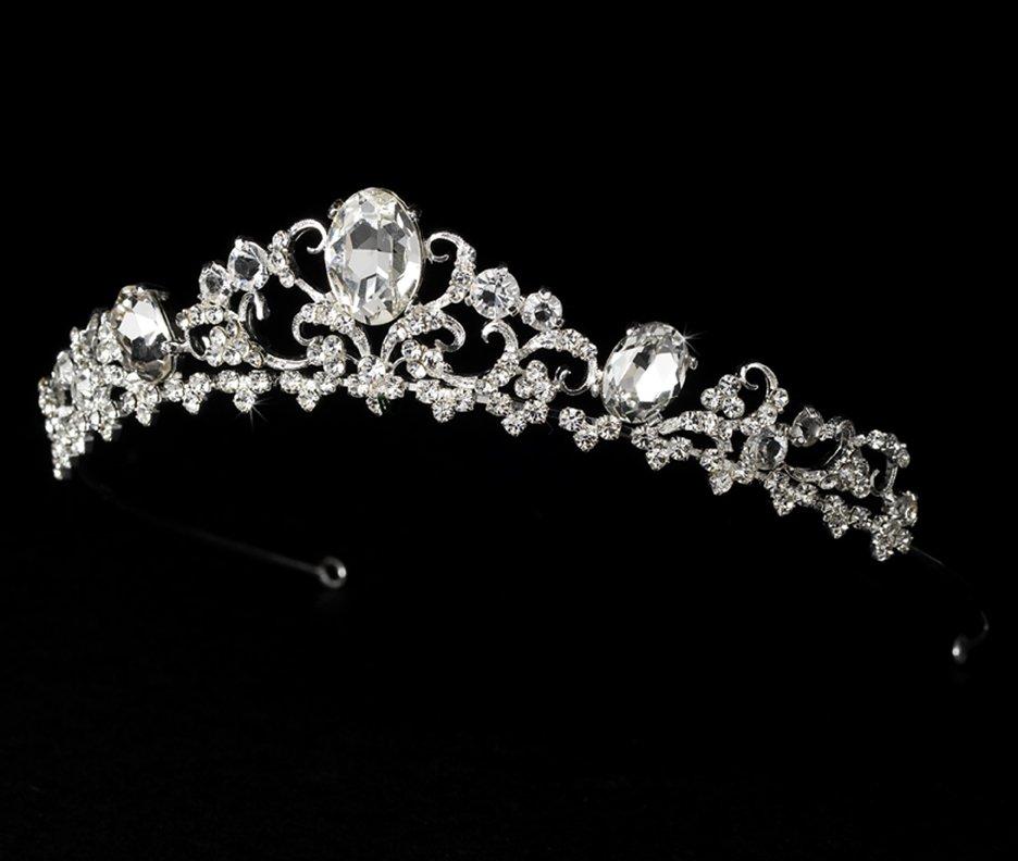 Silver Rhinestone Floral Design Princess Quinceanera, Mis Quince Anos, Prom Tiara