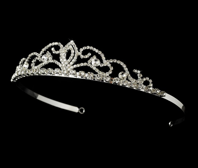 Silver Plated Dazzling Tiara for Wedding, Bridal
