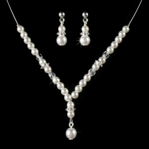 Silver Plated Pearl drop Necklace, Earring Set for First Communion, Flower Girl