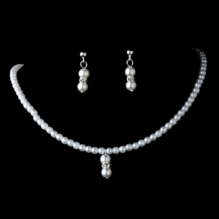 Lovely Children's Silver White Pearl Necklace & Earring Set for First Communion, Flower Girl