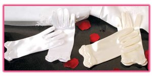 Girl's Satin Wrist Length Glove with Pearl Accents for First Communion, Flower Girl
