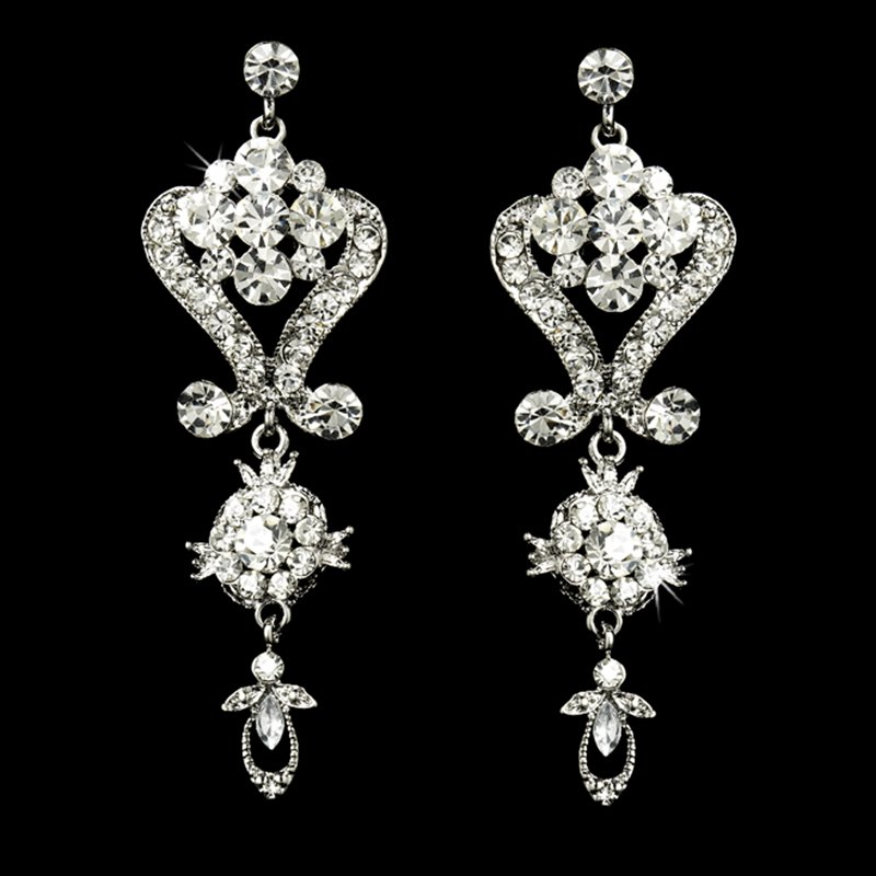 quinceanera earrings silver with clear rhinestone jewelry set for quinceanera 1488