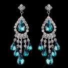 Teal Rhinestone Earrings for Quinceanera or Mis Quince Anos