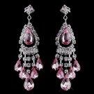 Pink Rhinestone Earrings for Wedding, Bride