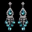 Teal Rhinestone Earrings for Brides, Wedding