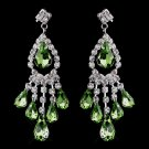 Peridot Rhinestone Earrings for Wedding, Bride
