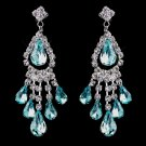 Aqua Rhinestone Earrings for Wedding, Bride