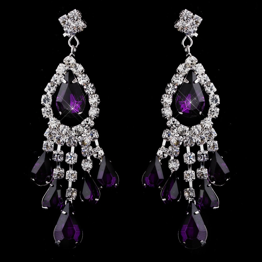 Amethyst Purple Rhinestone Earrings for Quinceanera or Mis Quince Anos