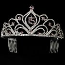 Light Amethyst Mis Quince Anos Quinceanera Tiara with Clear Crystals