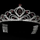 Burgundy Mis Quince Anos Quinceanera Tiara with Clear Crystals