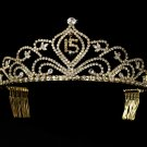 Gold Mis Quince Anos Quinceanera Tiara with Clear Crystals