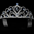 Light Blue Sweet Sixteen 16 Birthday Tiara with Clear Crystals