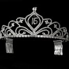 Silver Sweet 16 Tiara with Clear Crystals