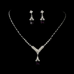 Dark Amethyst Rhinestone with Silver Jewelry Set for Quinceanera, Mis Quince Anos