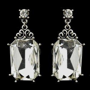 Antique Silver Clear Emerald Cut Rhinestone Bridal Earrings