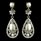 Antique Silver Clear Rhinestone with White and Ivory Pearl Earrings