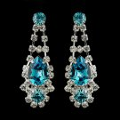 Silver Clear Crystal & Turquoise Rhinestone Earrings