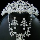 Royal Flowered Tiara and Jewelry Set in Silver with Rhinestones and Pearls