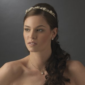 Gold Plated Floral Pearl and Crystal Bridal Headband