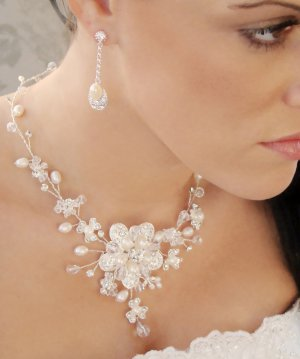 Floral Freshwater Pearl and Crystal Quinceanera Jewelry Set