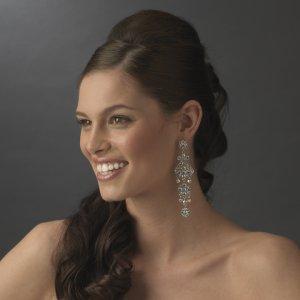 """Bold 4"""" AB Rhinestone Bridal, Wedding Chandelier Earrings"""