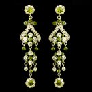 "Bold 4"" Gold with Green Crystal Quinceanera, Sweet 16 or Prom  Chandelier Earrings"