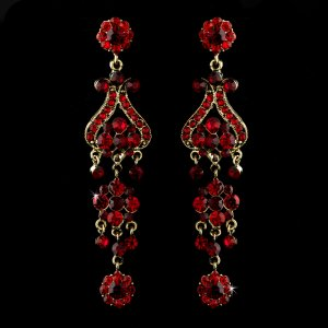 """Bold 4"""" Gold with Red Crystal Quinceanera, Sweet 16 or Prom  Chandelier Earrings"""