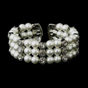 Antique Silver White Pearl & Rhinestone Bridal Cuff Bracelet