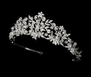 Silver Crystal Tiara with Pearl Accents for Bride