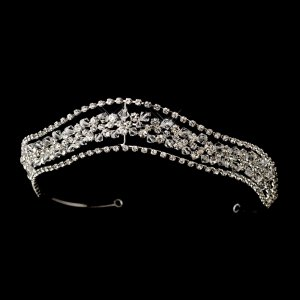Fabulous Silver Bridal Tiara with Swarvoski Crystals