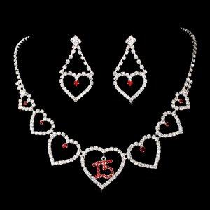 Quinceanera, Sweet 15 Necklace with Red Rhinestone Accents