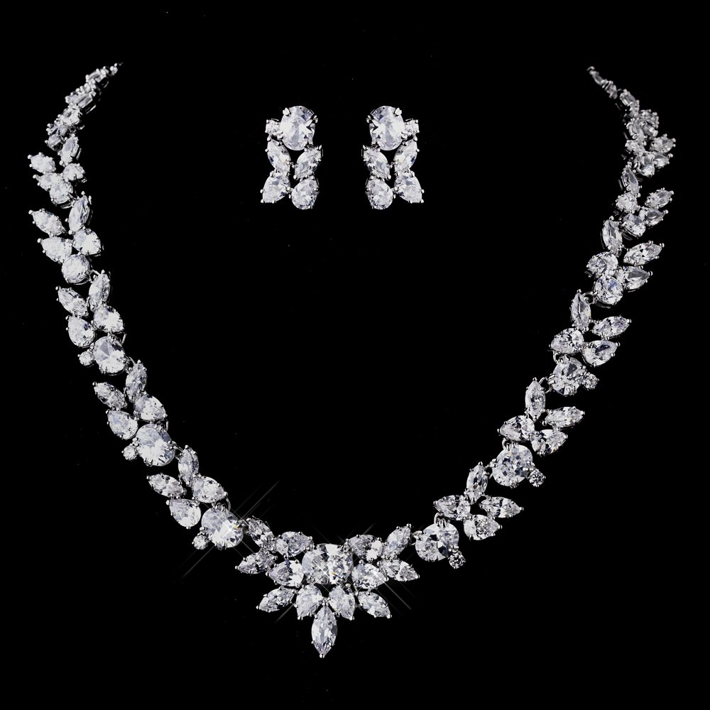 quinceanera earrings quinceanera silver cz necklace and earring set 279