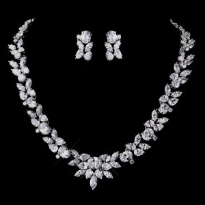 Quinceanera Silver CZ Necklace and Earring Set