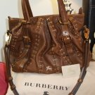 BURBERRY- LOWRY Leather Handbag with Gold Metal