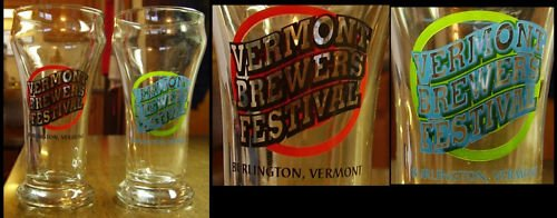 2 Vermont Brewers Festival Flutted Drinking Glasses