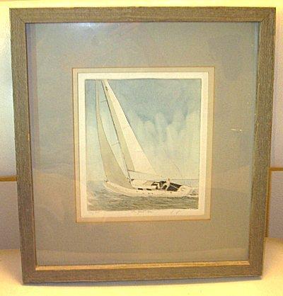 Frank Kaczmarek THE YACHTS MAN Sailboat Etching 175/250