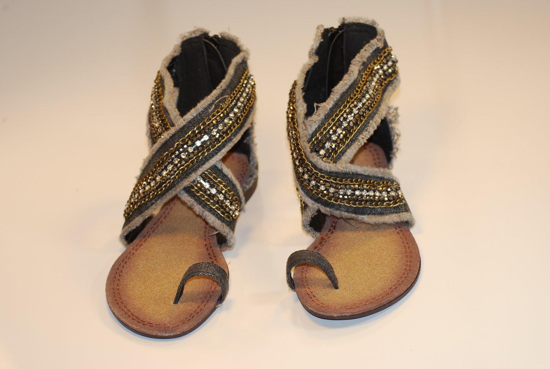 Sexy Womens Rhinestones Denim Sandals Toe Ring Flats v8