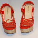 Women's Strappy Gladiators Wedge Shoes Orange Sz 6.5 10