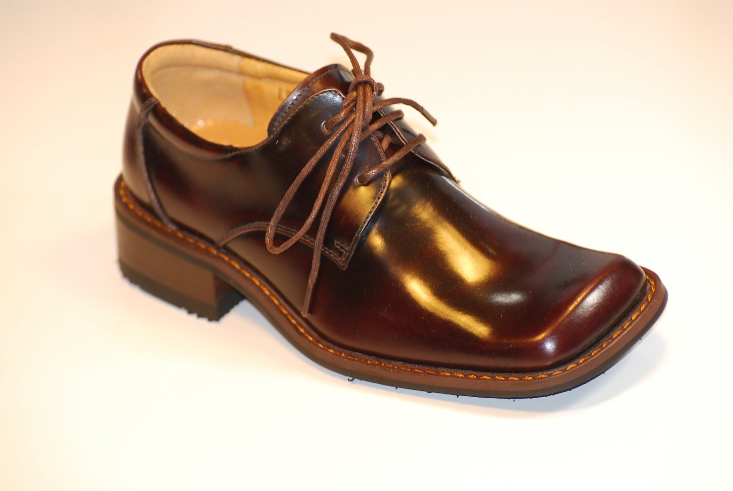 Boys Brown Wine Leather Tuxedo Shoes 12.5 13 1 1.5 2 3