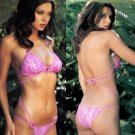 Lace Monokini Set with Heart Accents Hot Pink