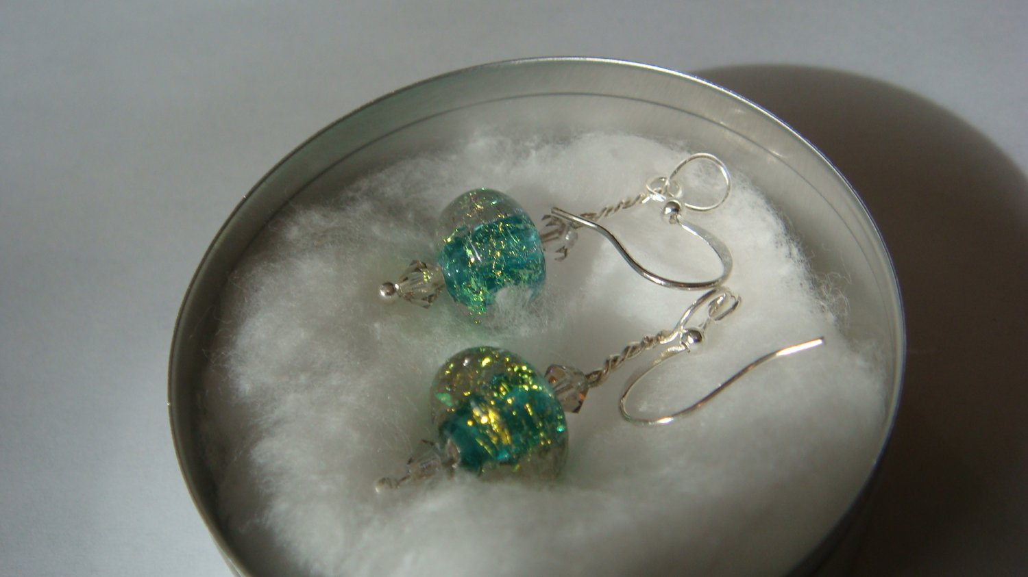 Green Gold Foil Earrings