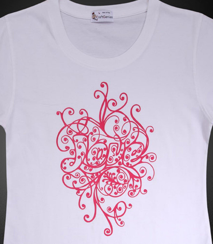 """Artistic Letter """"LOVE"""" T-Shirt Design for Women, New   (Women's Medium)"""