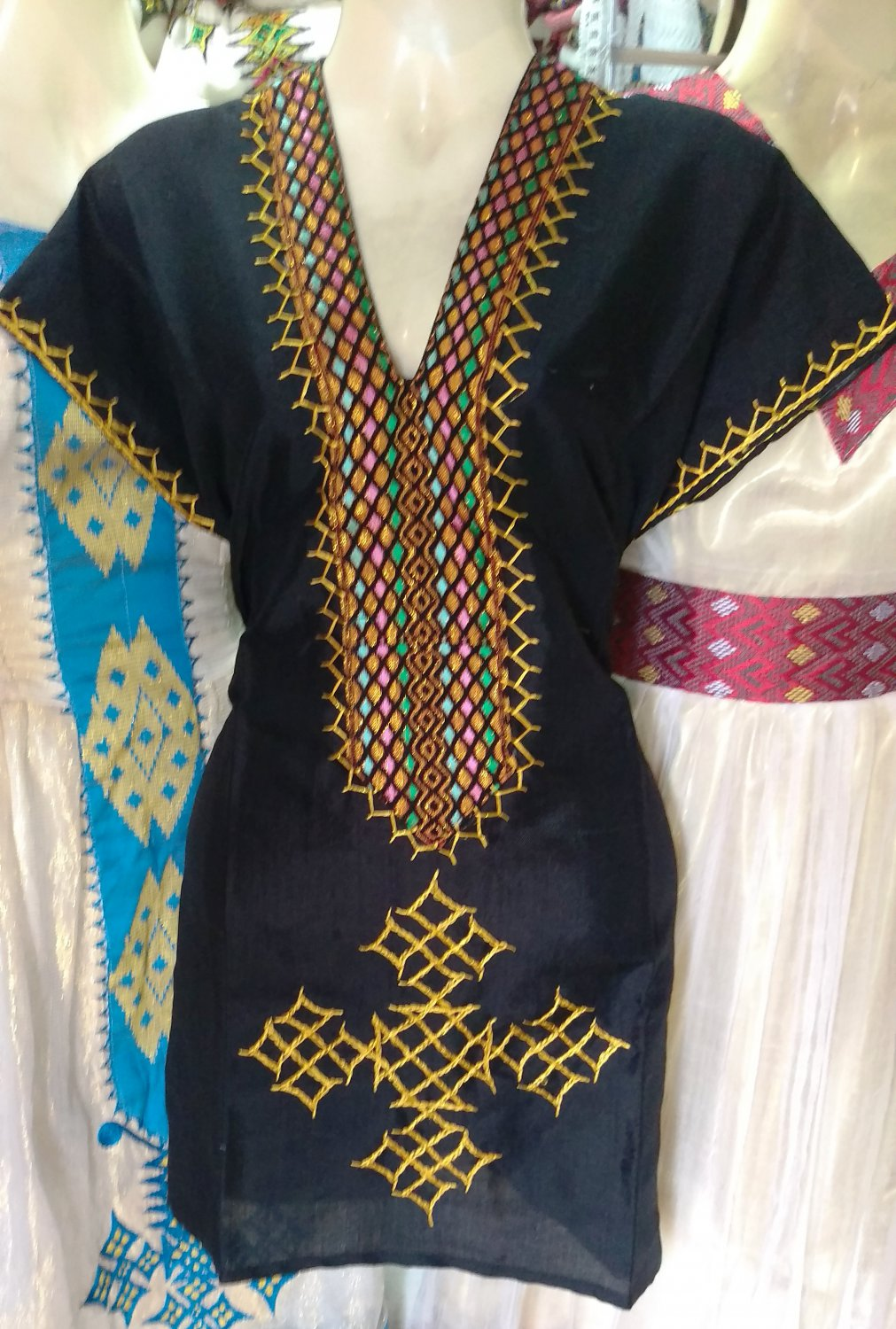 Hand Made Ethiopian Eritrean Habesha Black Mini Dress