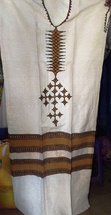 White with Ethiopian flag design Coffee dress Free shipping (��� ���) 10% Discount