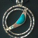 Silver Hammered Turquoise & Aquamarine Pendant