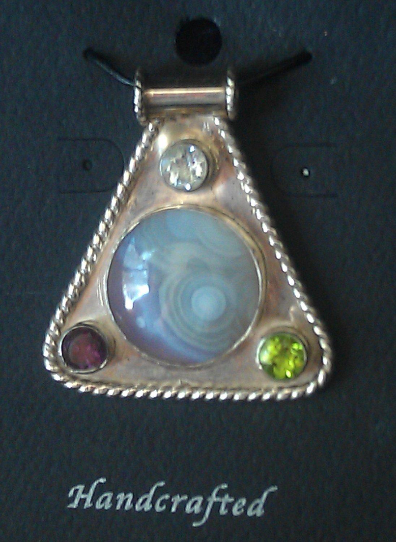Silver Amethyst Peridot & Aquamarine w/ Agate Cabochon Pendant