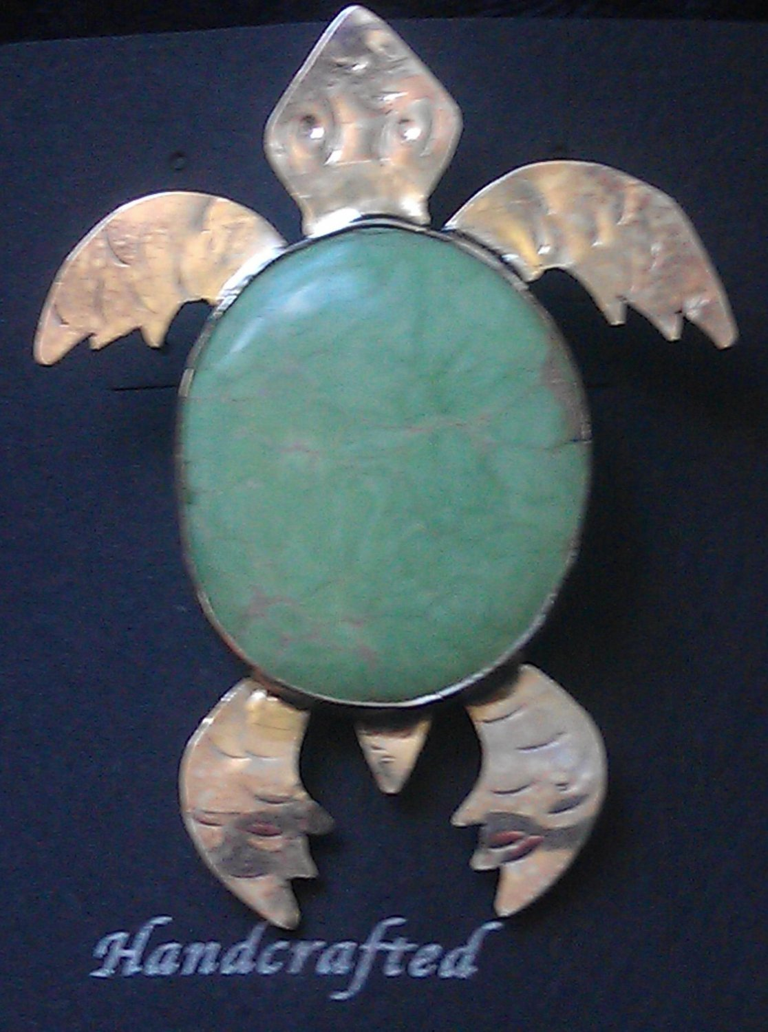 Sterling Silver Variscite Cabochon Turtle Broach