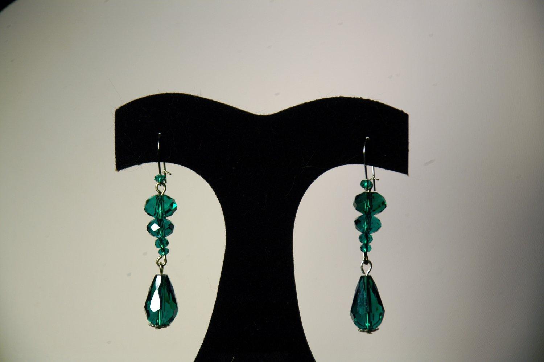Teal 2 Tier Lantern Drop Earrings